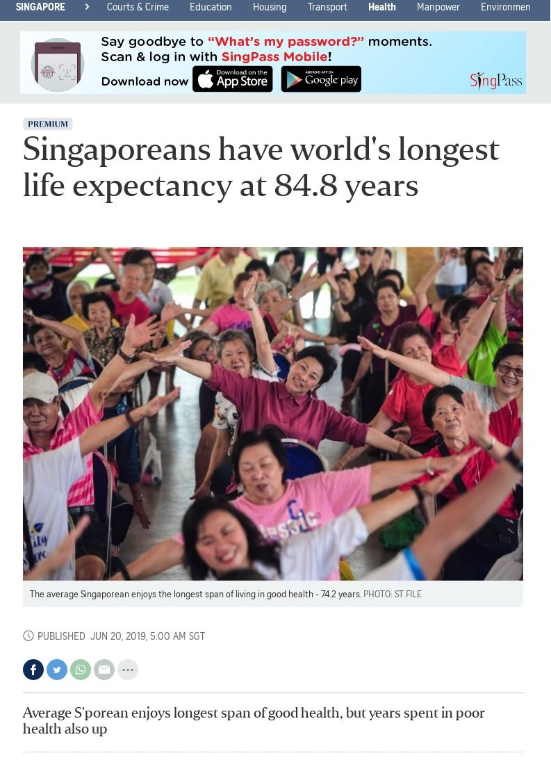 Singapore Life Expectancy